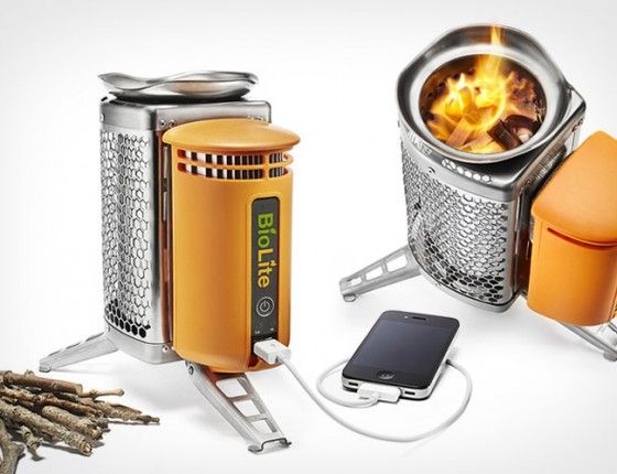 The BioLite CampStove does just that. Not only does it heat your food but charges your device(s). The heat generated from the stove is converted into electricity and you are able to charge various devices with a USB connection.