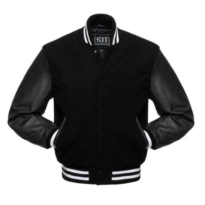 Men S Letterman Varsity Bomber Jacket With White Strip Genuine Leather Sleeves Ebay In 2021 Varsity Jacket Jackets Leather Varsity Jackets [ 1429 x 1429 Pixel ]