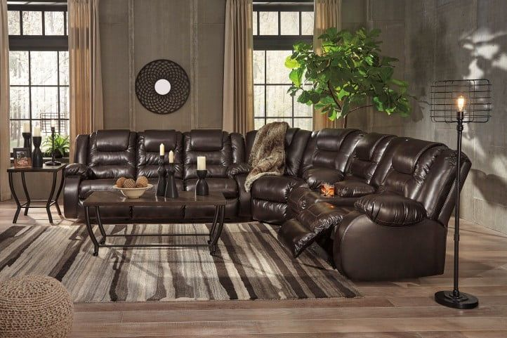 Vacherie Chocolate Double Reclining Sectional In 2020 Reclining Sectional Modern Sectional Living Room Living Room Sectional
