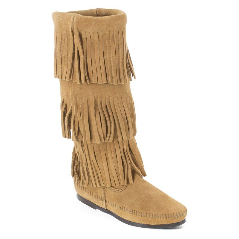 Minnetonka Womens 3 Layer Fringe Calf Hi Moccasin Boots Taupe, Size: 10 -  Durable