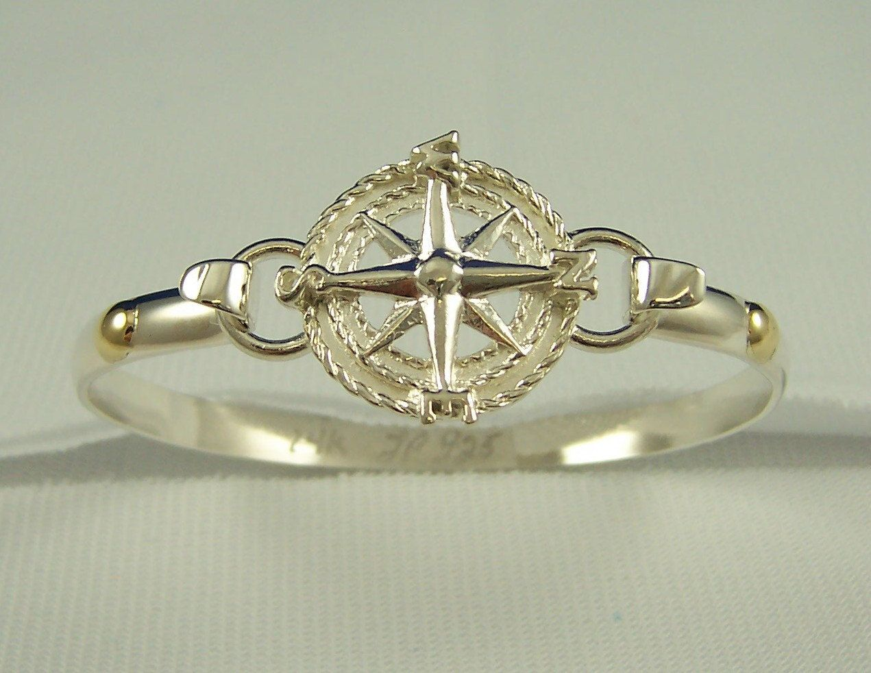 Sailors Compass Rose Convertible Bracelet   Sterling Silver With 14k Gold  Accents  Cape Cod
