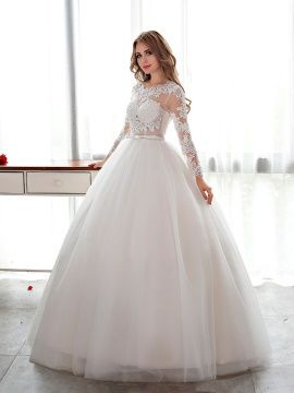 Designer Open Back Lace Ball Gown Long Sleeve Wedding Dress Modern Dresses