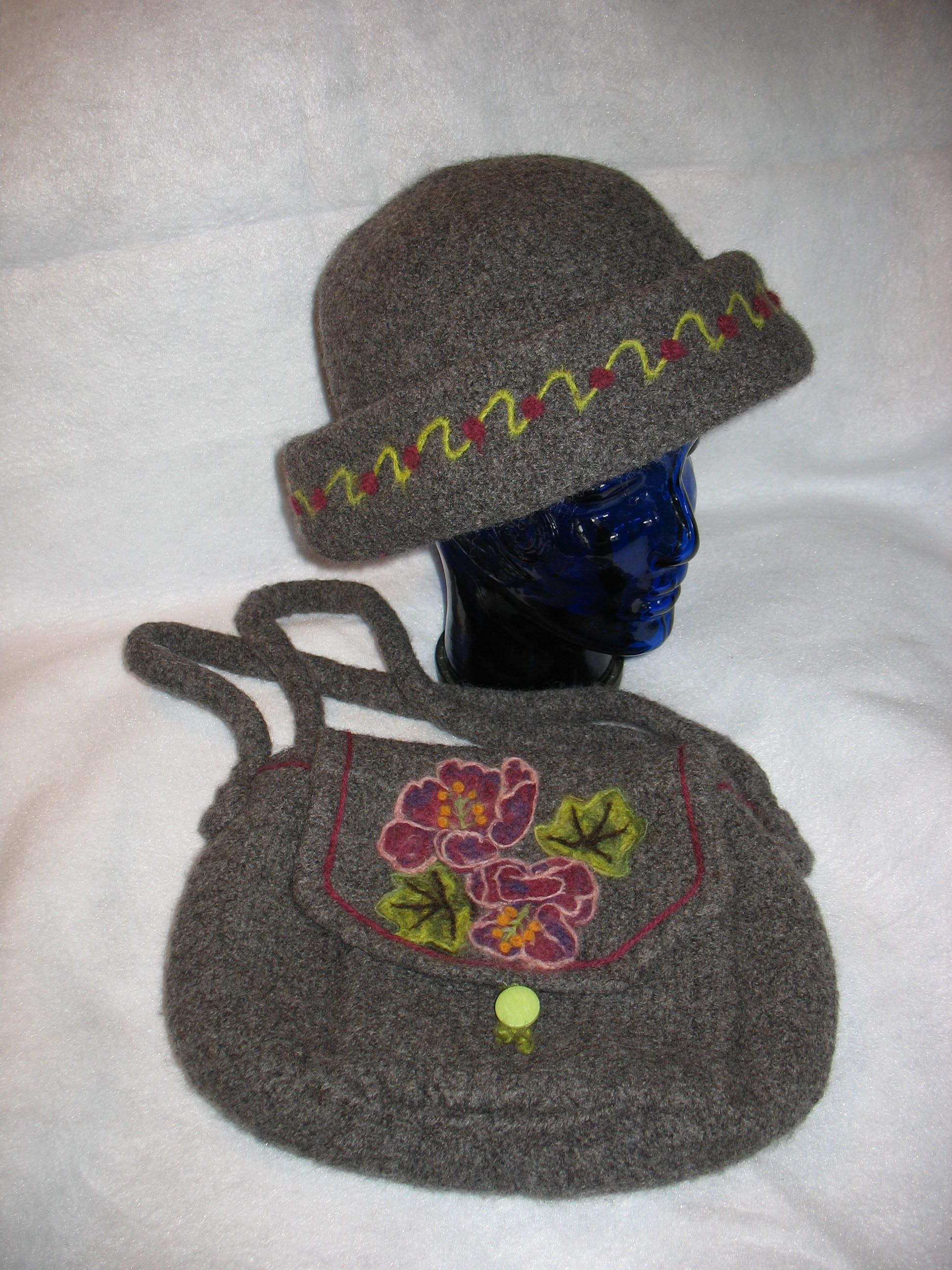 Knit-felted hat and bag.Had a pattern for hat but improvised bag ...