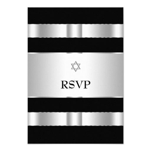 Black silver star of david bar mitzvah rsvp cards personalized black silver star of david bar mitzvah rsvp cards personalized invitation stopboris Images