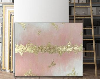 Photo of Abstract Pink and Gold Leaf