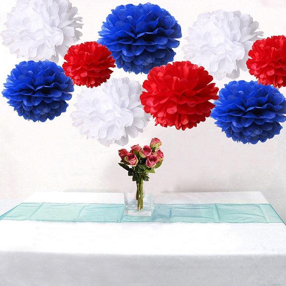 Bulk 18pcs Royal Blue Red White Diy Tissue Paper Flower Pom Poms