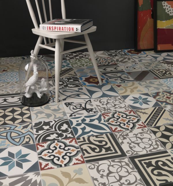 Decorative Vinyl Floor Tiles Patchwork  Multicolour  Ca 'pietra  Tiled Floors  Pinterest
