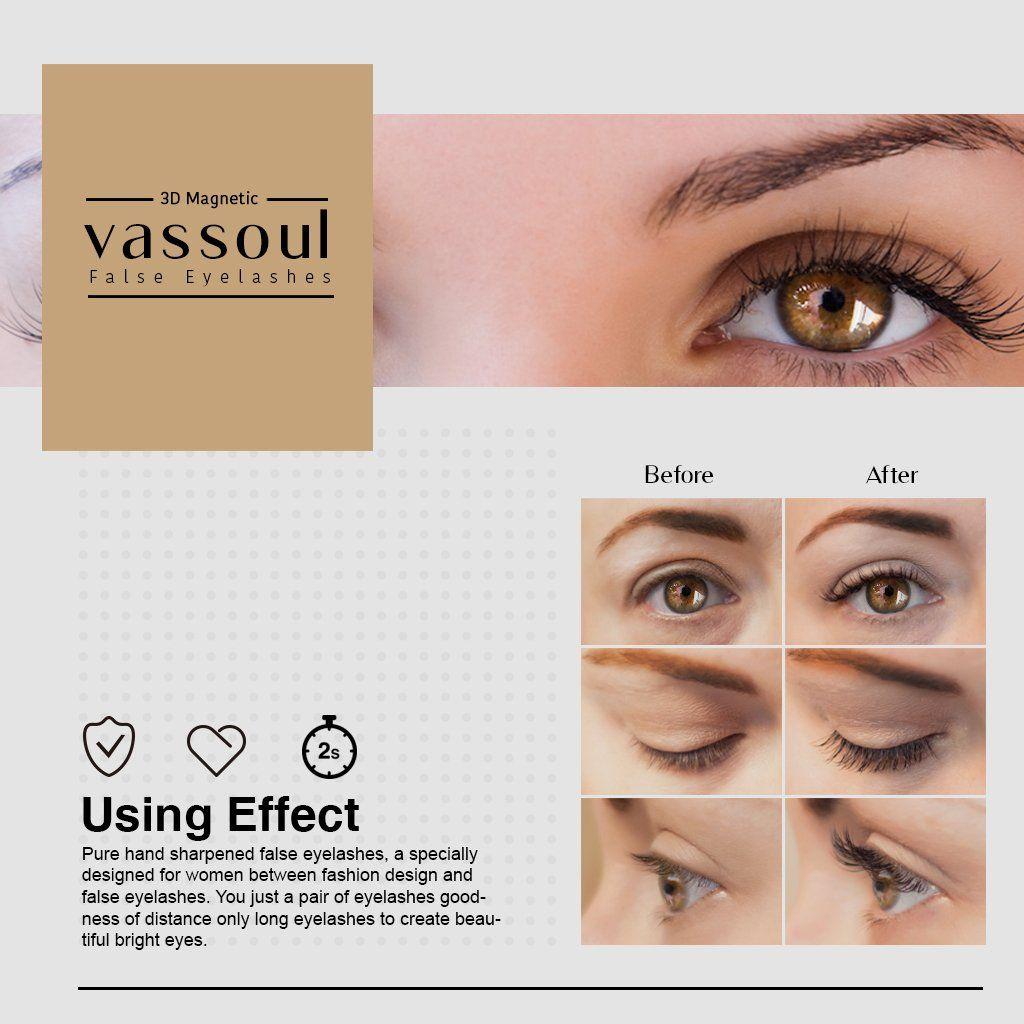 4af177c4b5d Vassoul Magnetic False Eyelashes 0.2mm Ultra Thin 3D Fiber Reusable Best Fake  Lashes Natural Handmade Extension Fake Eye Lashes No Glue 4 Pieces **  Continue ...