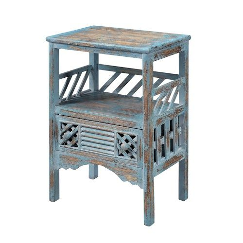 distressed onedrawer accent table with panels and an open display compartment product accent material woodcolor bali