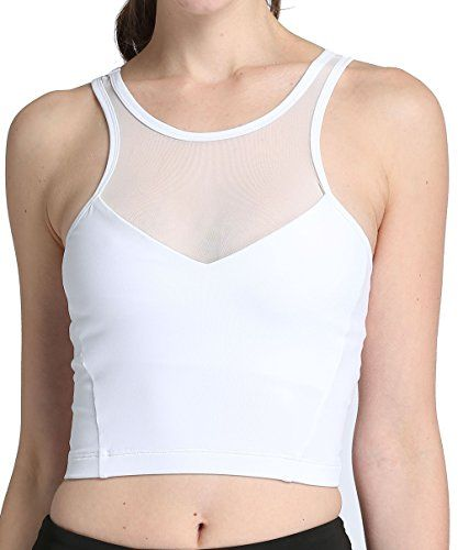 8d269476273a5 RUNNING GIRL Womens Sexy Mesh Sports Bra Long Bralette Padded Crop Tops  Workout White Yoga Bra L 2045 White   For more information