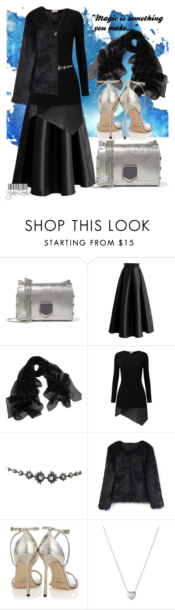 """""""BLACK DRESS!! ◼"""" by ngku-zeeha ❤ liked on Polyvore featuring Jimmy Choo, Chicwish, Phase Eight, Lanvin and Links of London"""