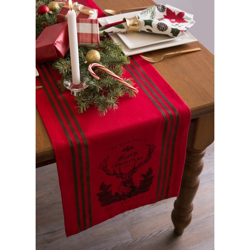 Scarlett 100 Cotton Christmas Table Runner Printed Table Runner Holiday Table Runner Christmas Table Runner