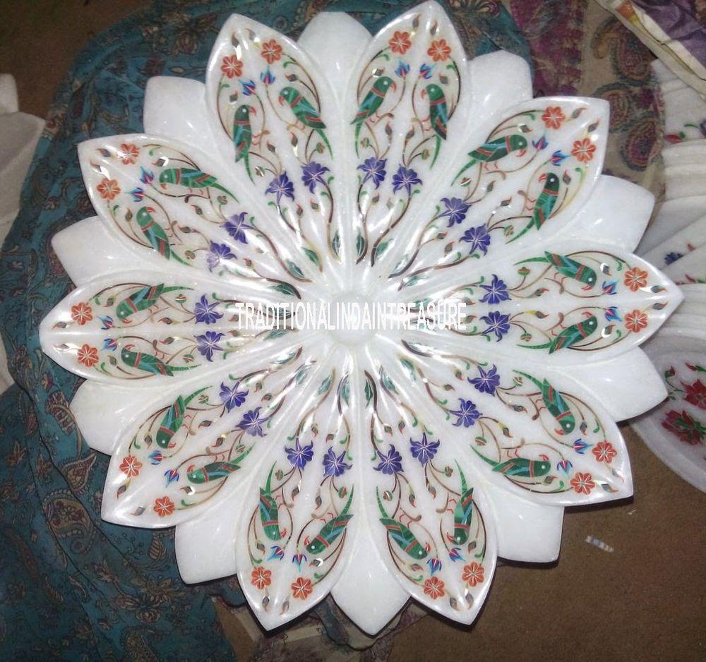 12 Marble White Dry Fruit Bowl Rare Malachite Pietradura Inlay Parrot Art Decor Modernplate Marbleplate Floral Art Malachi Parrots Art Art Gift Art Decor