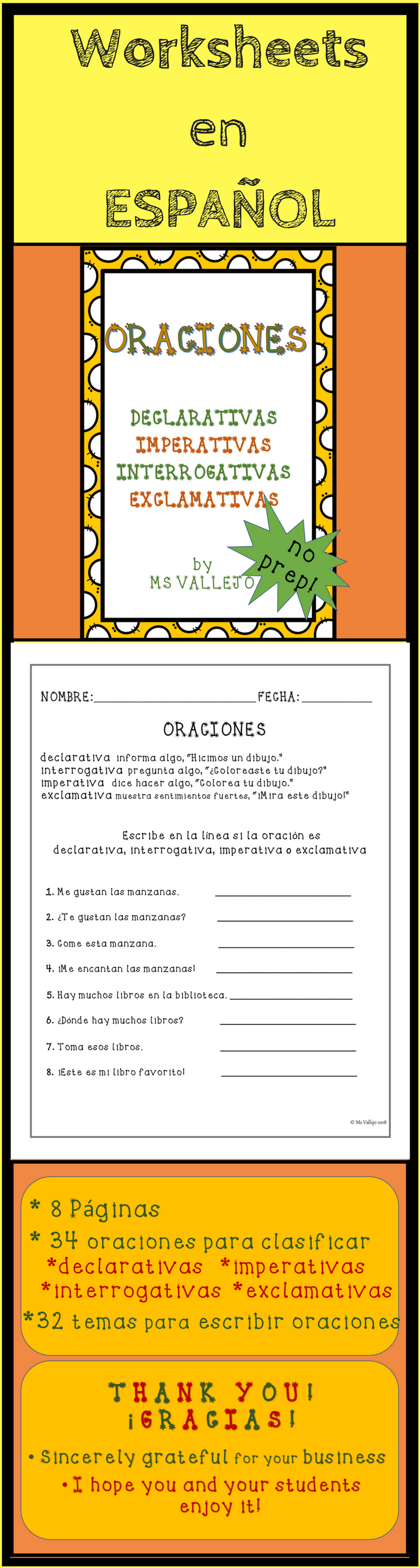 worksheet Declarative Imperative Interrogative Exclamatory Worksheets oraciones declarativas interrogativas imperativas y these worksheets in spanish are ready to go it will help your students at practicing