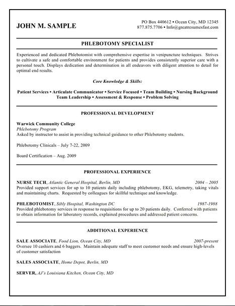 Phlebotomy Resume Sample Cover Resume Sample Phlebotomist No