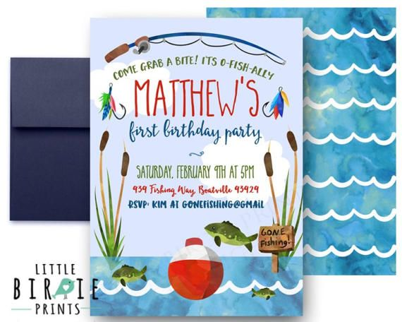 Fishing Invitation Birthday Fish First Party 1st