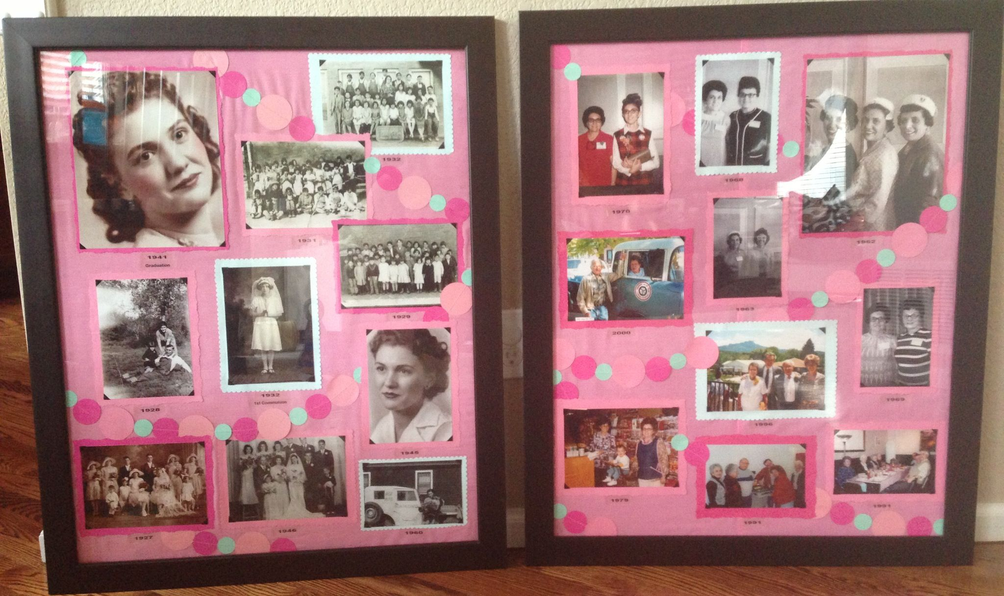 90th birthday photo collage boards. Mint green and pink ...