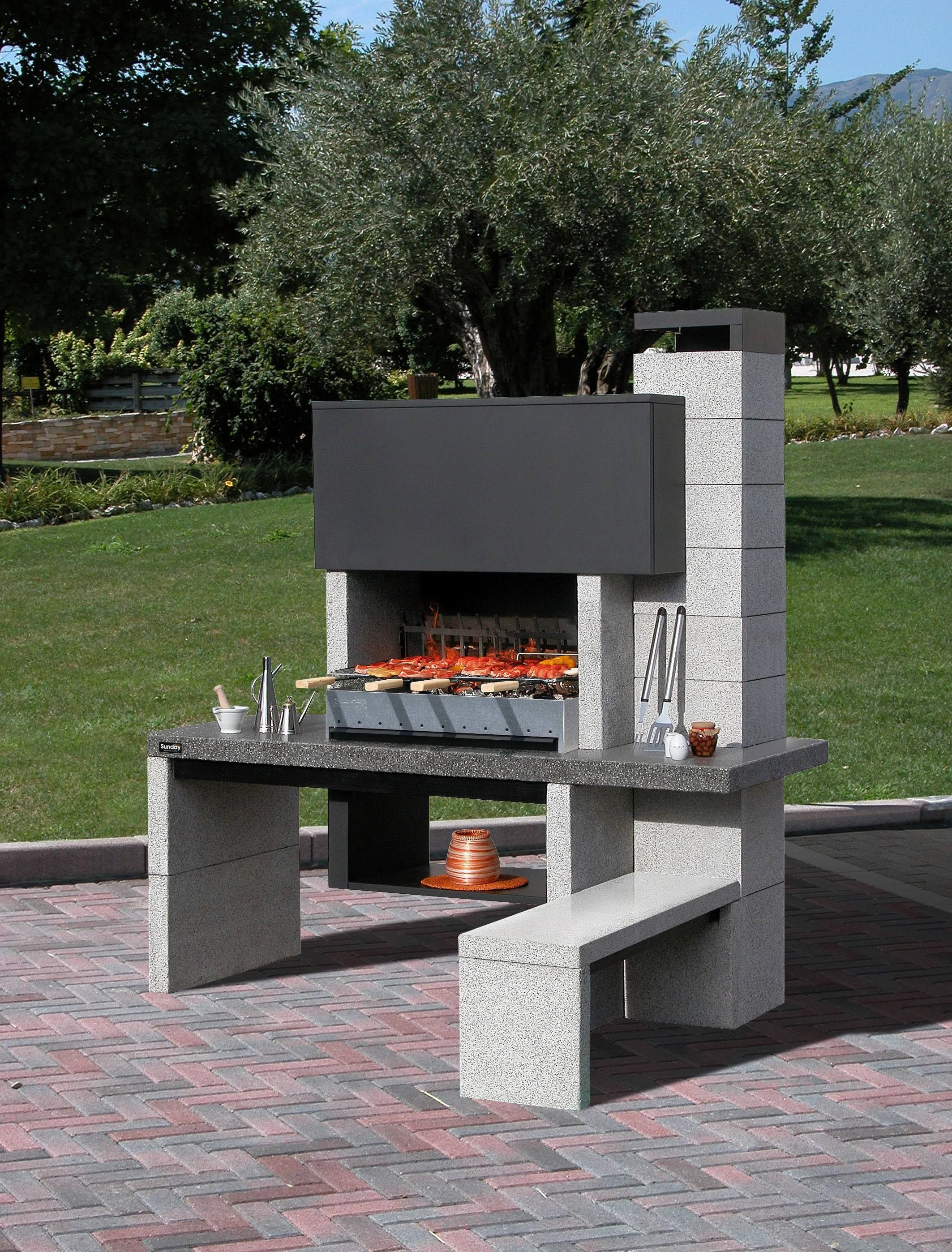 Barbecue fixe sunday new jersey terrasse pinterest for Construire un barbecue exterieur