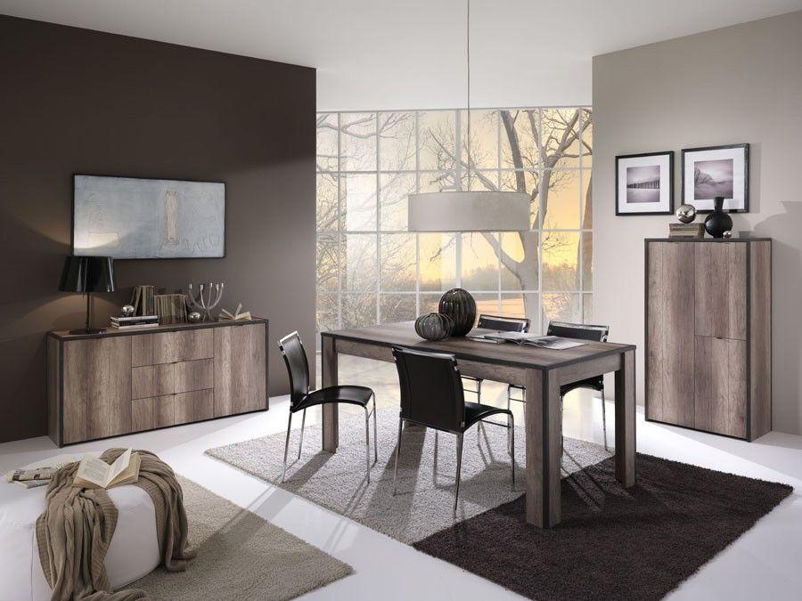 Tendance et moderne, cette table de salle à manger couleur chêne - table de salle a manger grise