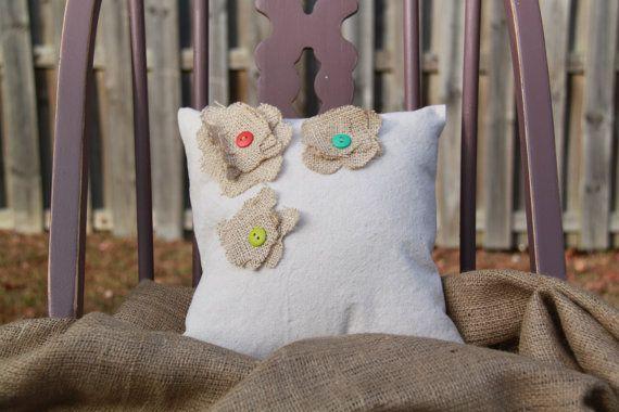 Burlap Flower Pillow - Custom Pillows   vintageaffairstudio