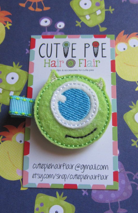 Monsters Inc Mike Clippie by CutiePieHairFlair on Etsy, $3.50