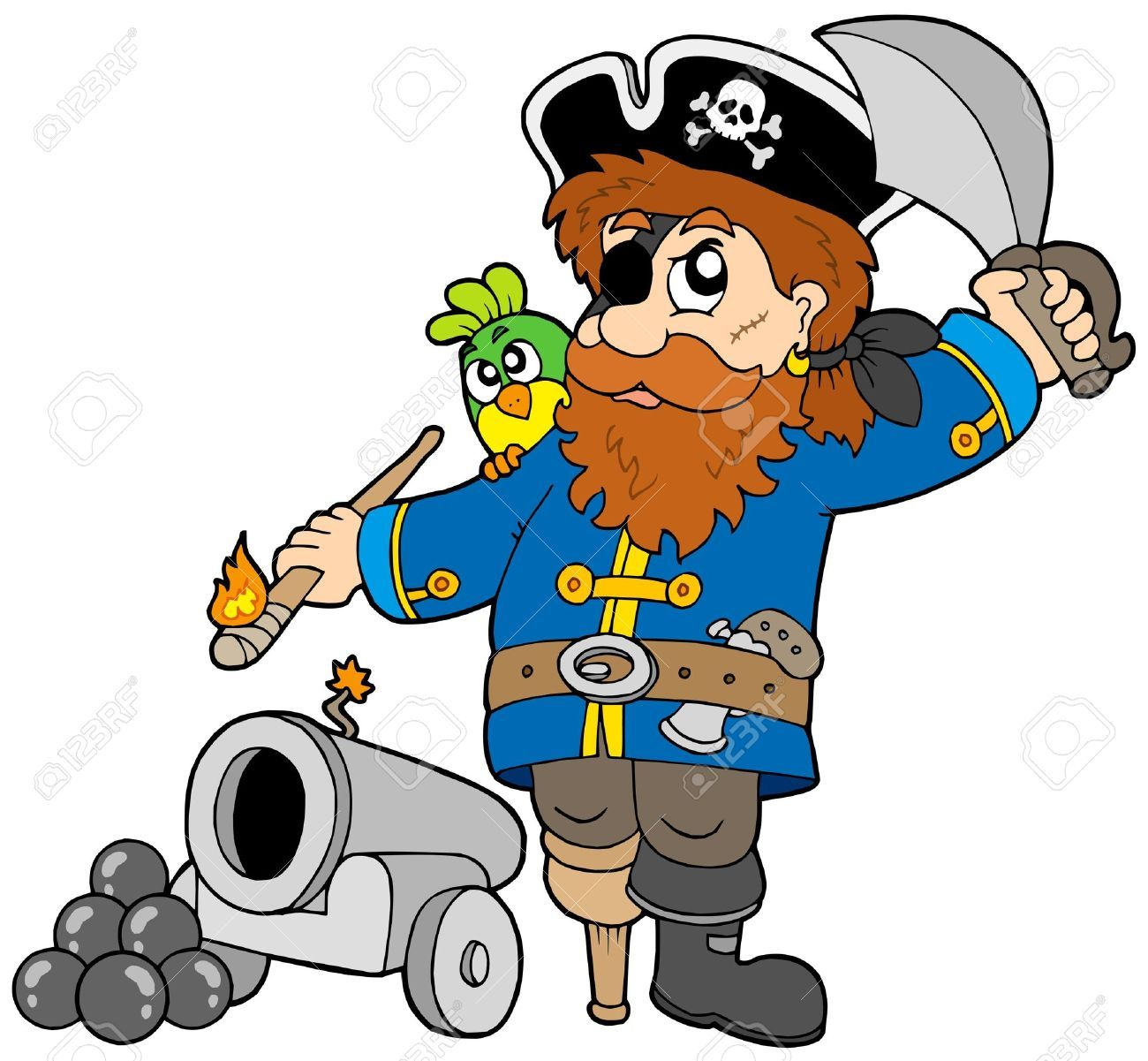 Pirata De Dibujos Animados con el pirata, listo a encender el cañón ...