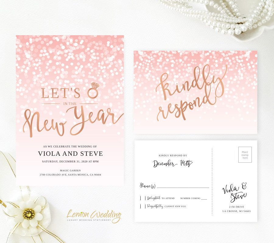 Blush Pink And Rose Gold New Years Eve Wedding Invitation With RSVP Card
