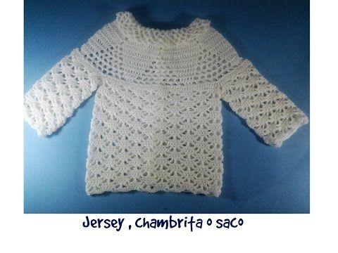 Chambrita, saco o jersey de bebe a crochet 1ª parte - YouTube ...