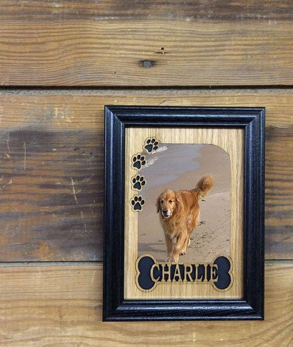 5x7 Personalized Dog Picture Frame, Dog Memorial, Dog Lover Gift, Dog Bone & Paws Frame, Pet Frame, Laser Engraved Frame
