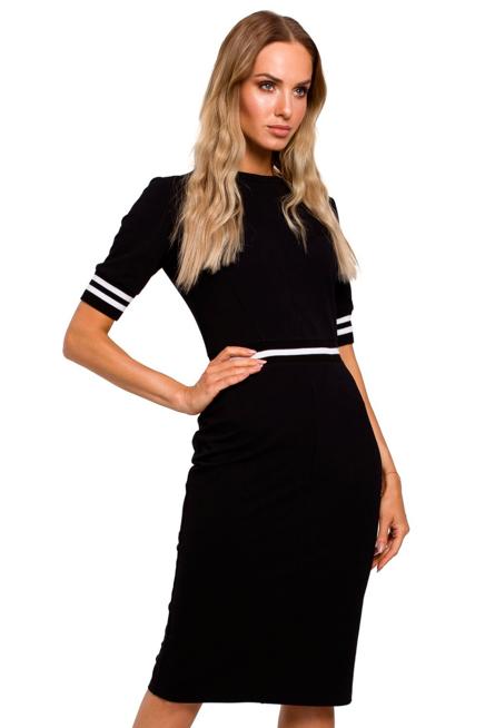 Dopasowana Sukienka Z Kontrastowymi Lampasami Kobieta Odziez Sukienki Sukienki Shop Black Dress Little Black Dress Fashion