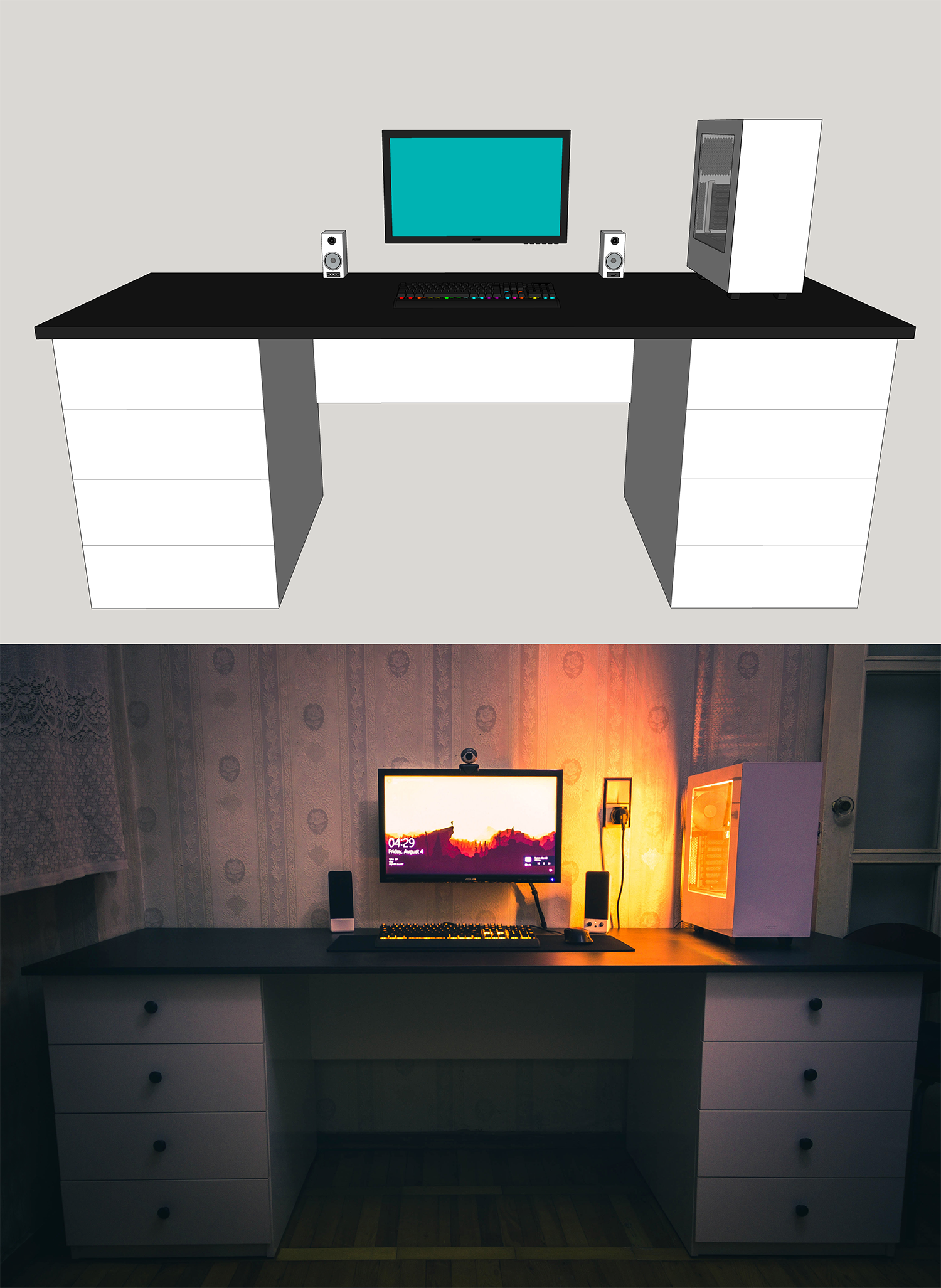 From a 3D model to the final product. My new desk. Desk