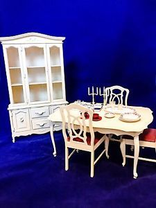 Vintage 1978 Marx Toys Sindy Dining Table And Chairs Set With Breakfast Hutch