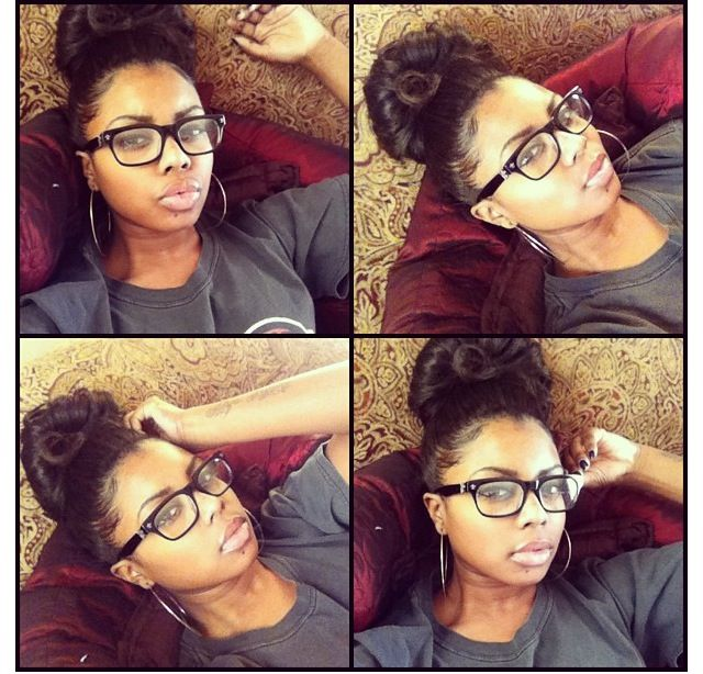 Big bun, big hoops, big glasses & big lips. This is soo me!! Xoxo
