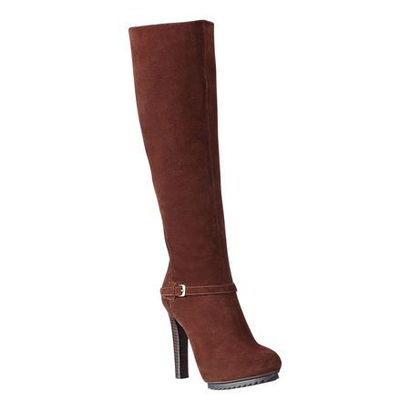 """Almond toe hidden platform boot with lug sole.   Buckle detail.  Stacked leather heel. Full side exposed zipper.  Measurements: heel 4.5"""", platform .5"""", shaft 17"""" and circumference 14""""."""