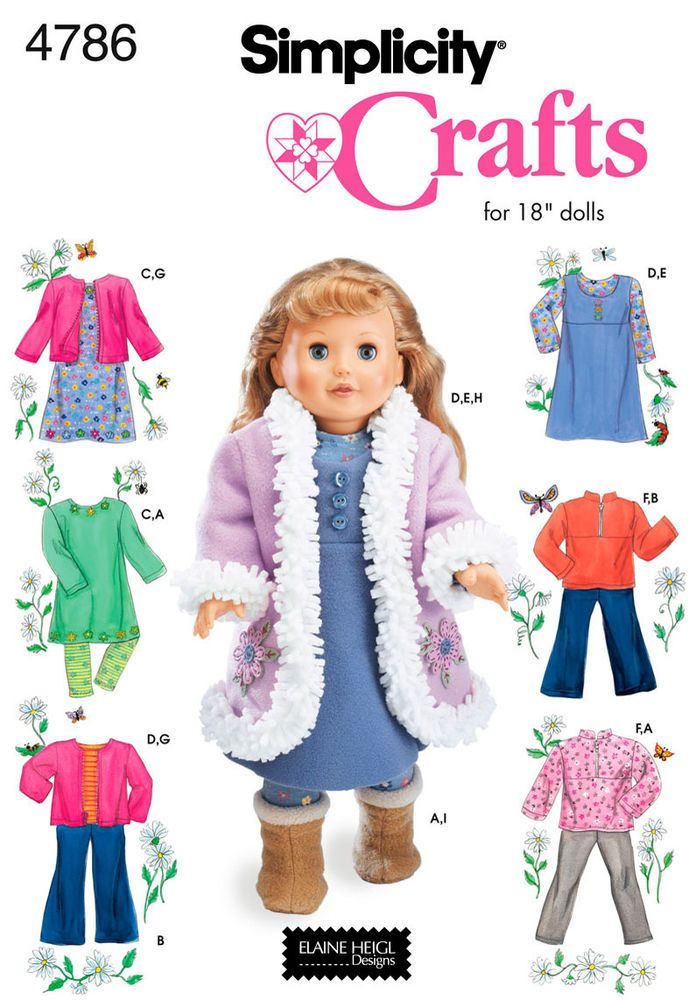 """Simplicity 4786 wardrobe for 18"""" doll"""
