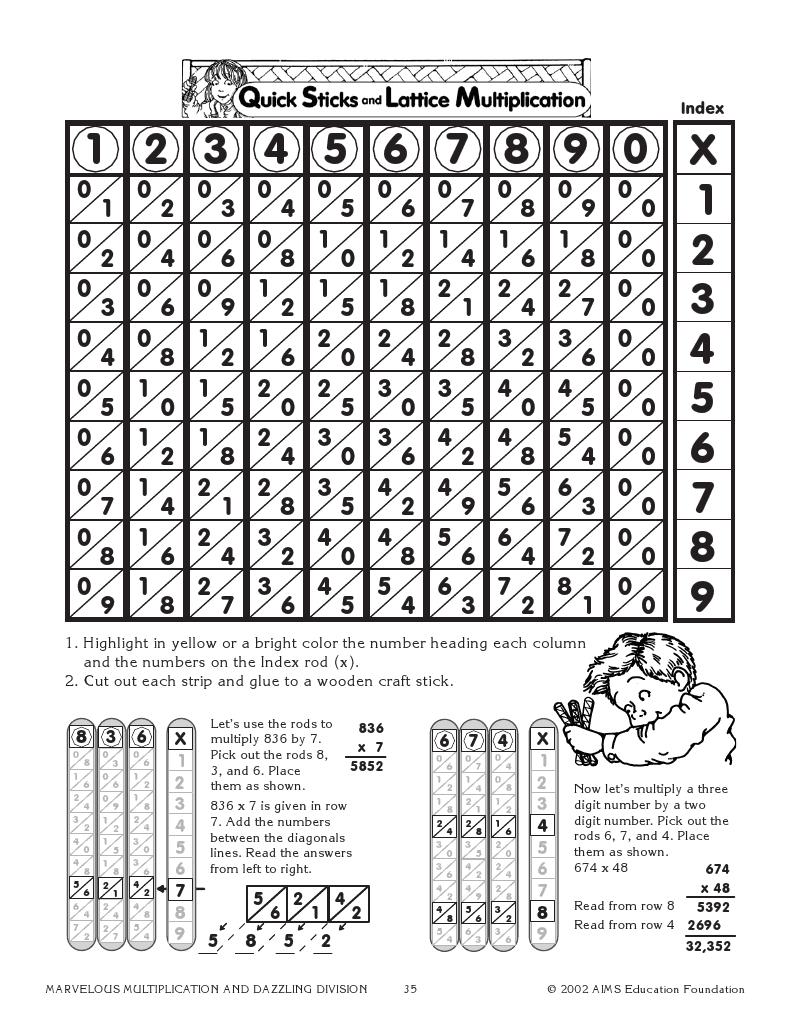 Quick Sticks And Lattice Multiplication Super Teacher Worksheets Lattice Multiplication Elementary Math Lessons [ 1035 x 800 Pixel ]