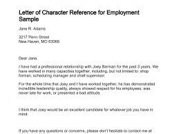 Letter Of Character Reference For Employment Sample  Professional