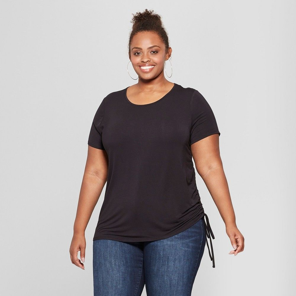 ee699f42c6a Women s Plus Size Side Ruched Short Sleeve T-Shirt - Ava   Viv Black ...