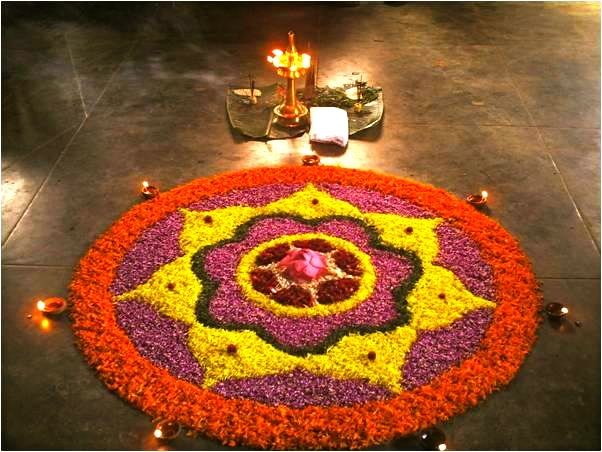 pookolam flower design made on floor during onam