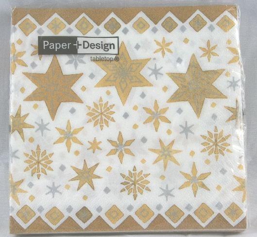 Tovaglioli in carta 33x33 cm deco stelle oro natale 20 pz per apparecchiare la tavola delle - Tovaglioli di carta decorati ...