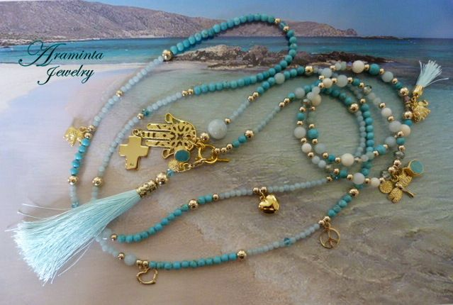 Gold & Amazonite hand beaded Tassel Necklace.