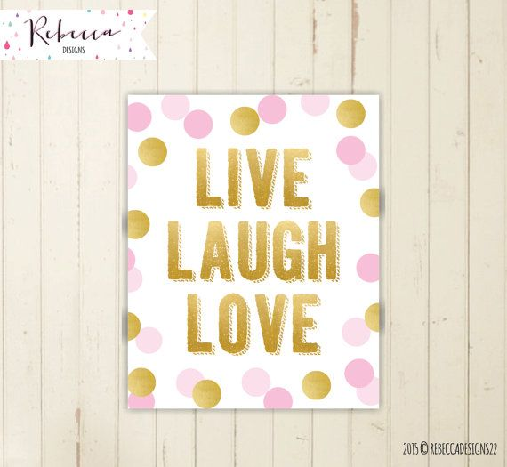 Live laugh love sign printable wall art pink and gold poster girl ...