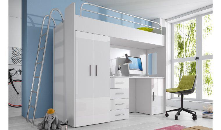 Lit combiné avec bureau et armoire camille meuble chambre enfant