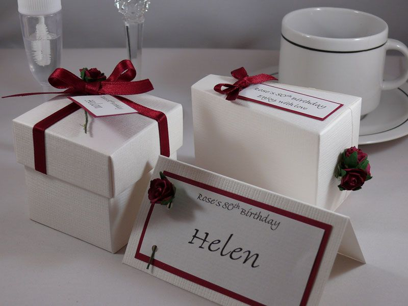 Birthday favour White silk square box with lid, with matching place name card & cake slice box