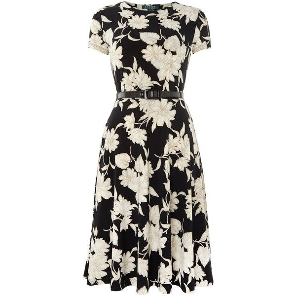 Lauren Ralph Lauren Floral print belted short sleeved dress (2 795 UAH) ?  liked on Polyvore featuring dresses, short dresses, black, women, floral \u2026