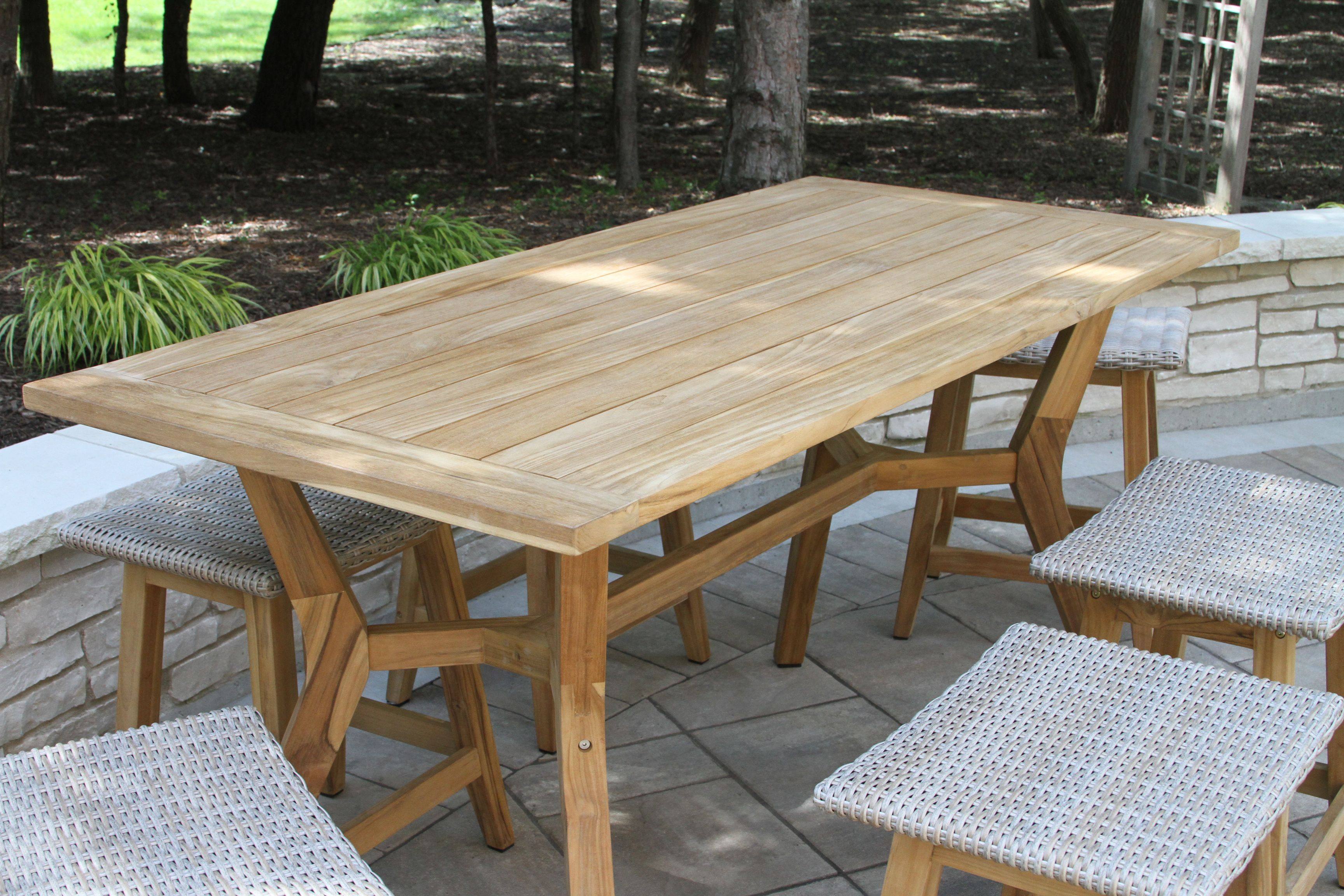 Nautical Teak Counter Height Table All Teak Outdoor Wood Furniture Tile Patio Table Outdoor Tables