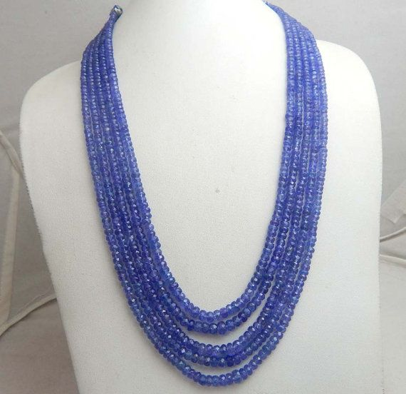 Super Rare,Ultimate quality  TANZANITE Necklace Faceted Roundels Beads  3 TO 5.5 MM size Natural Gem 17 Inch Strand Super Finest