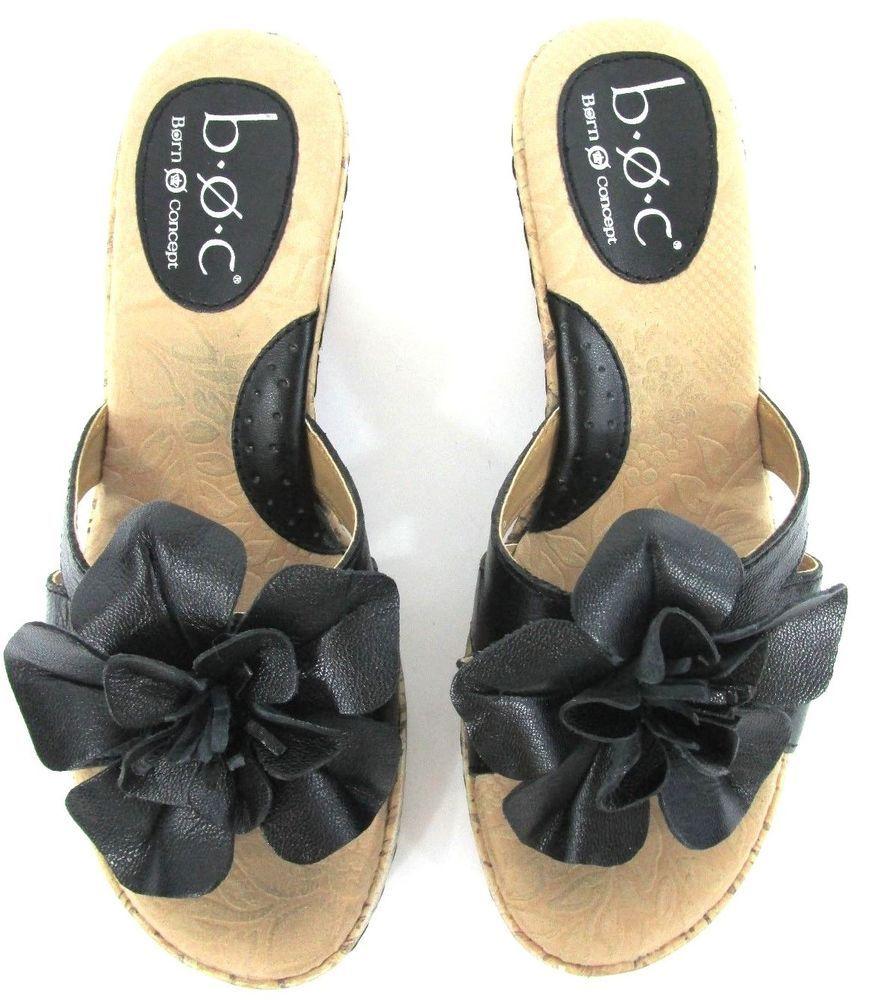 568b057ea BORN BOC Shoes 6 M Platform WEDGES Black Leather FLOWER Sandals Womens  Born   PlatformsWedges