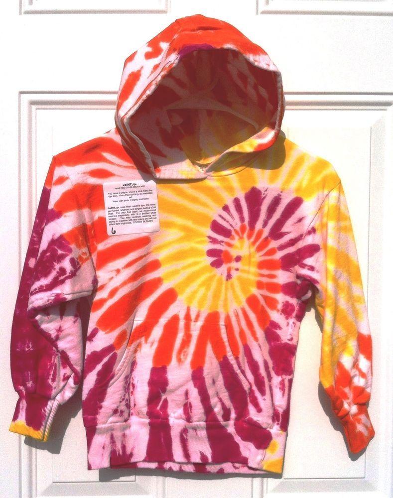 Childrens fleece dharma tie dye hoodie pink yellow