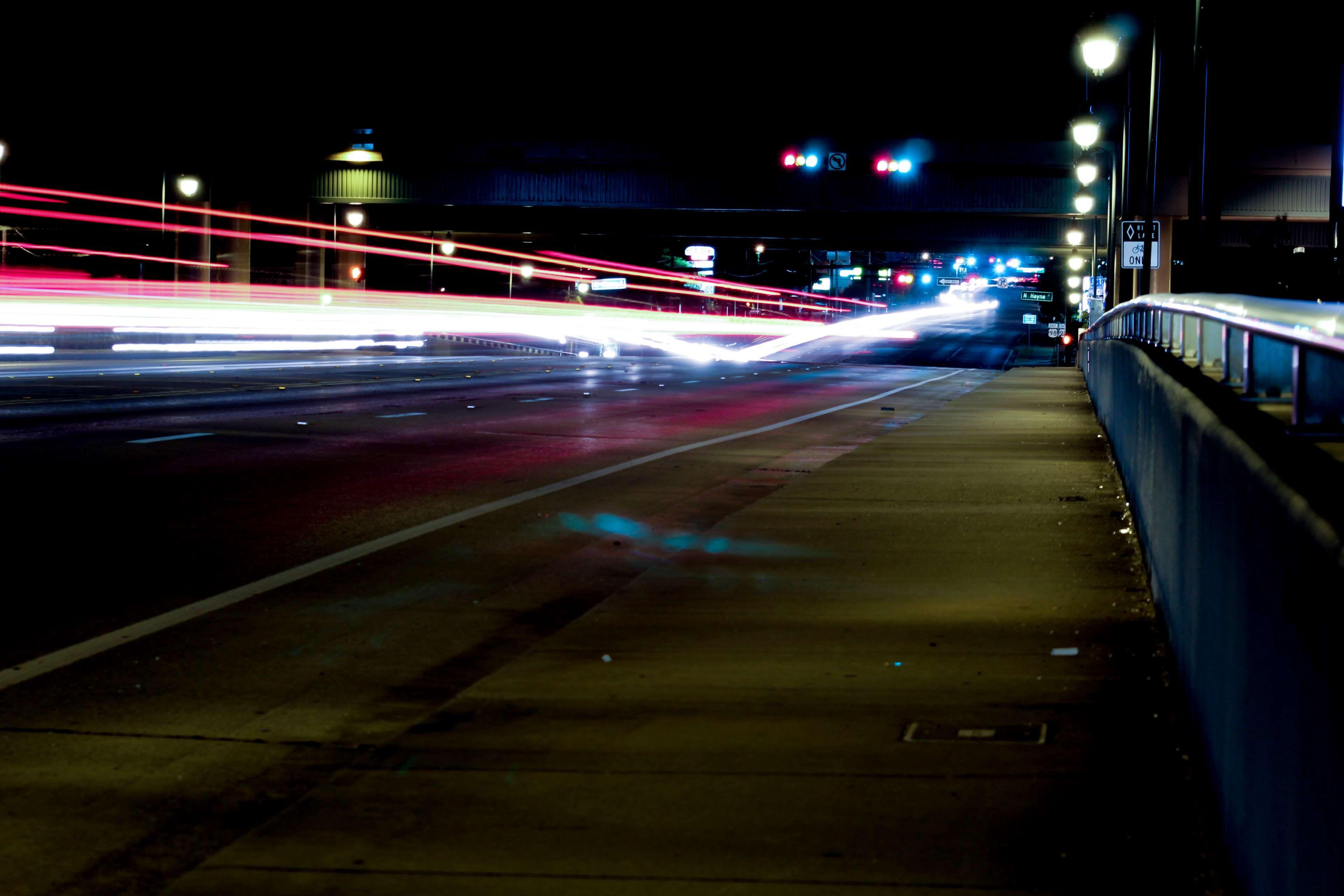 Background Image Car Lights City Lights Neon Night Lights